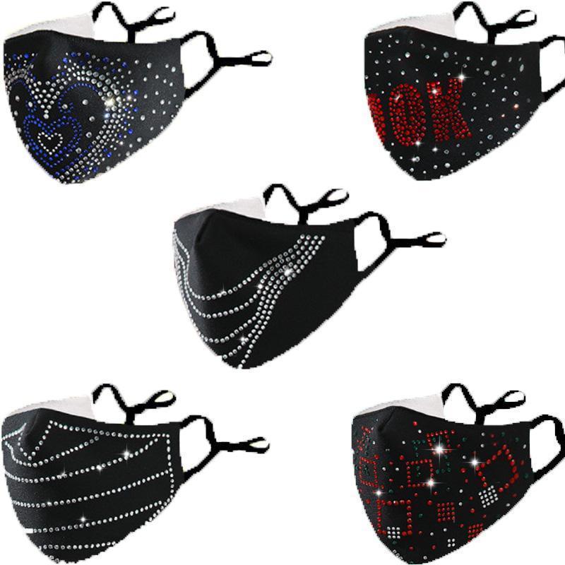 Мода День Святого Валентина Алмазные блестки Bling Mask Смешные Мужчины и Женщины Висит уха Ветрозащитный Регулируемый Холодный пылезащитный хлопчатобумажный