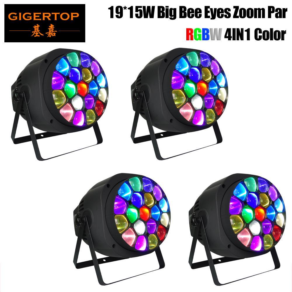 Freeshipping 4 Pack Big Bee Eye Led Zoom Light Par Novo Design 19x15W RGBW alta potência 4 em 1 LED Full Color Display LCD Led Par Can