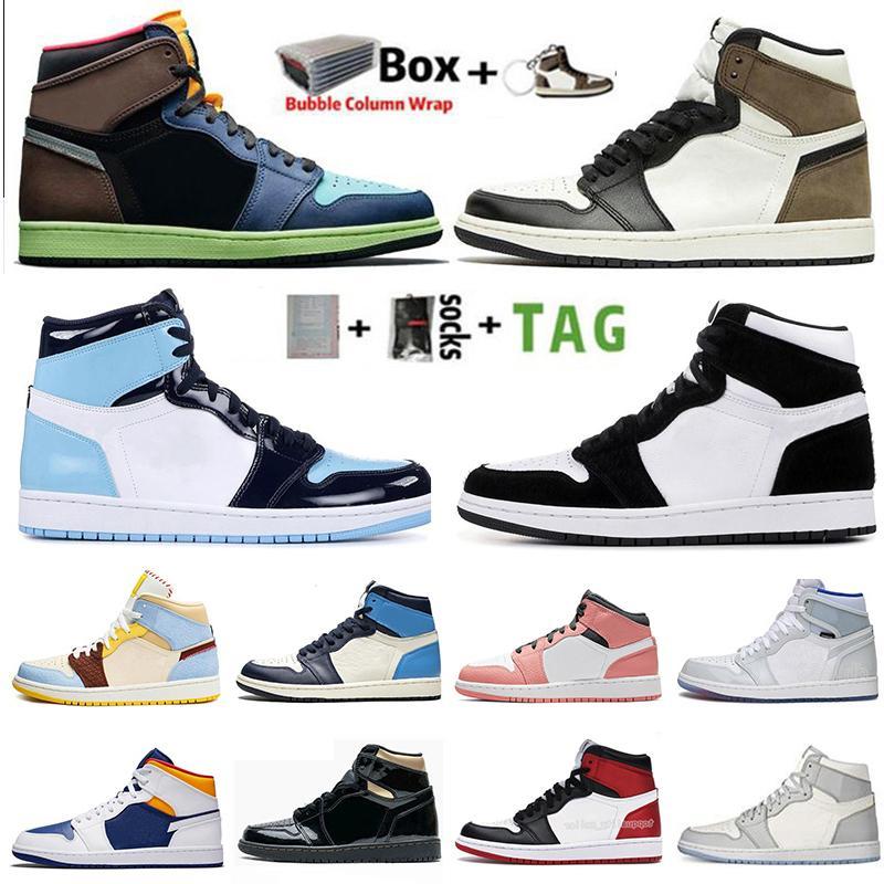2020 الجديد Jumpman 1 1S الرجال أحذية كرة السلة حجر السج UNC طوكيو الحيوية هاك أسود لامع الذهب الظلام موكا شيكاغو تويست الرياضة المدربين حذاء رياضة