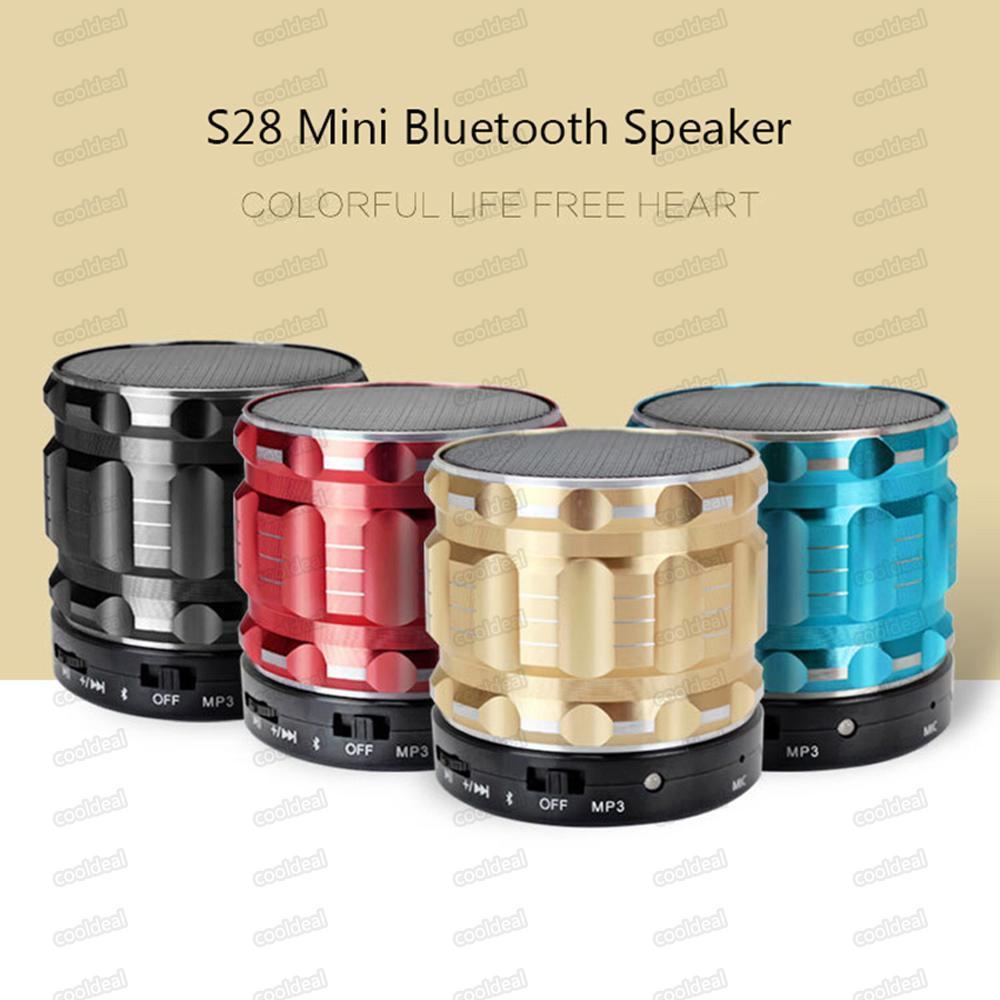 المحمولة بلوتوث المتكلم اللاسلكي S28 مع ميكس في ميكروفون TF بطاقة يدوي مكبر الصوت مصغرة مع صندوق البيع بالتجزئة