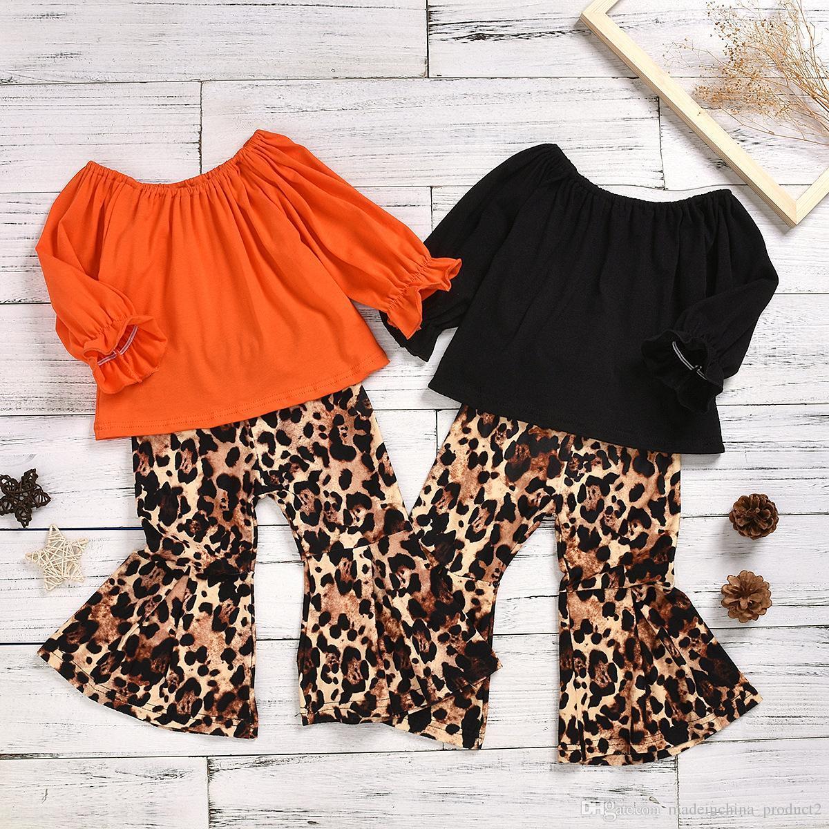 Baby Girl Одежда Puff рукавом Leopard брюки 2pcs комплекты малышей Flared Брюки Костюмы конструктора Дети Эпикировка Boutique Детская одежда