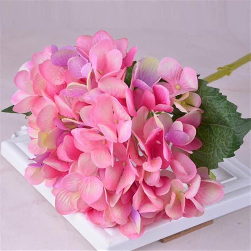 Hydrangea artificielle Hydrôme tête de fleurs Fleurs de soie DIY Real Touch Hydrangas pour Centres de mariage Accueil Parti décoratif 10 N0QWF