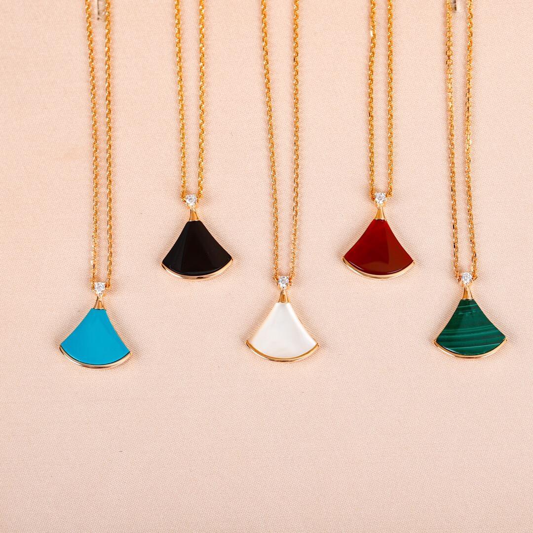 여성 결혼 보석 선물 무료 배송 PS8099에 대한 다섯 가지 색상 자연 돌 2020 고급스러운 품질 팬 모양의 펜던트 목걸이
