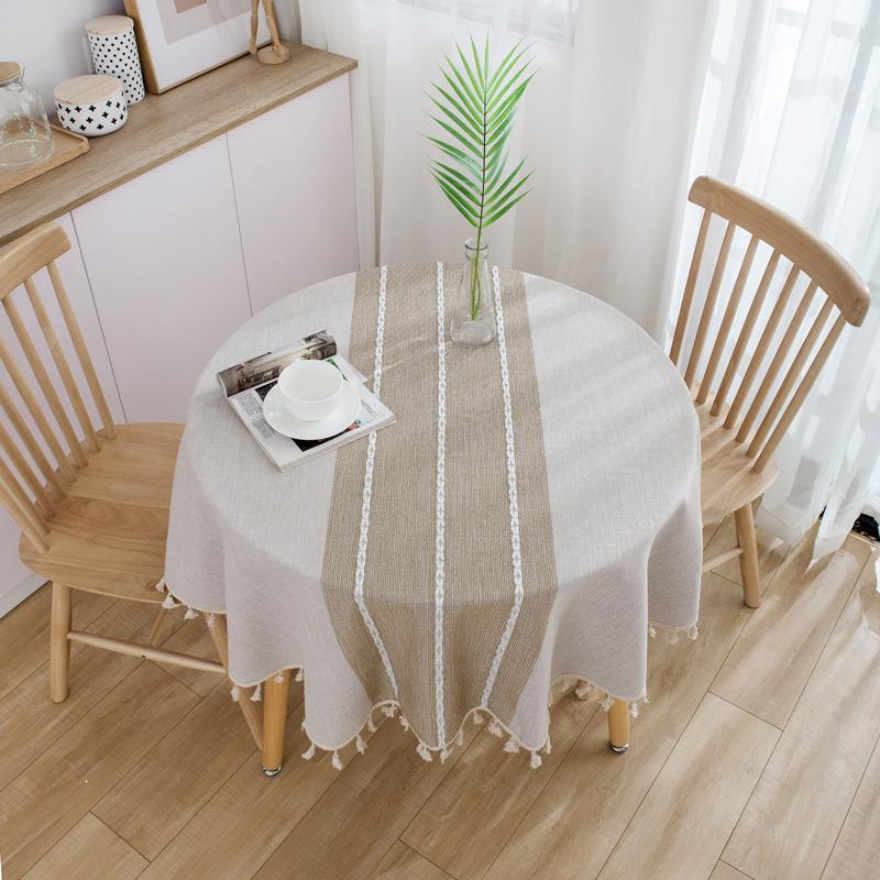 Moderne Tischdecke Runde Tischdecke mit Quasten Nappe Tischdecke Party Hochzeit Tuch für Heim Mantel Home Decor