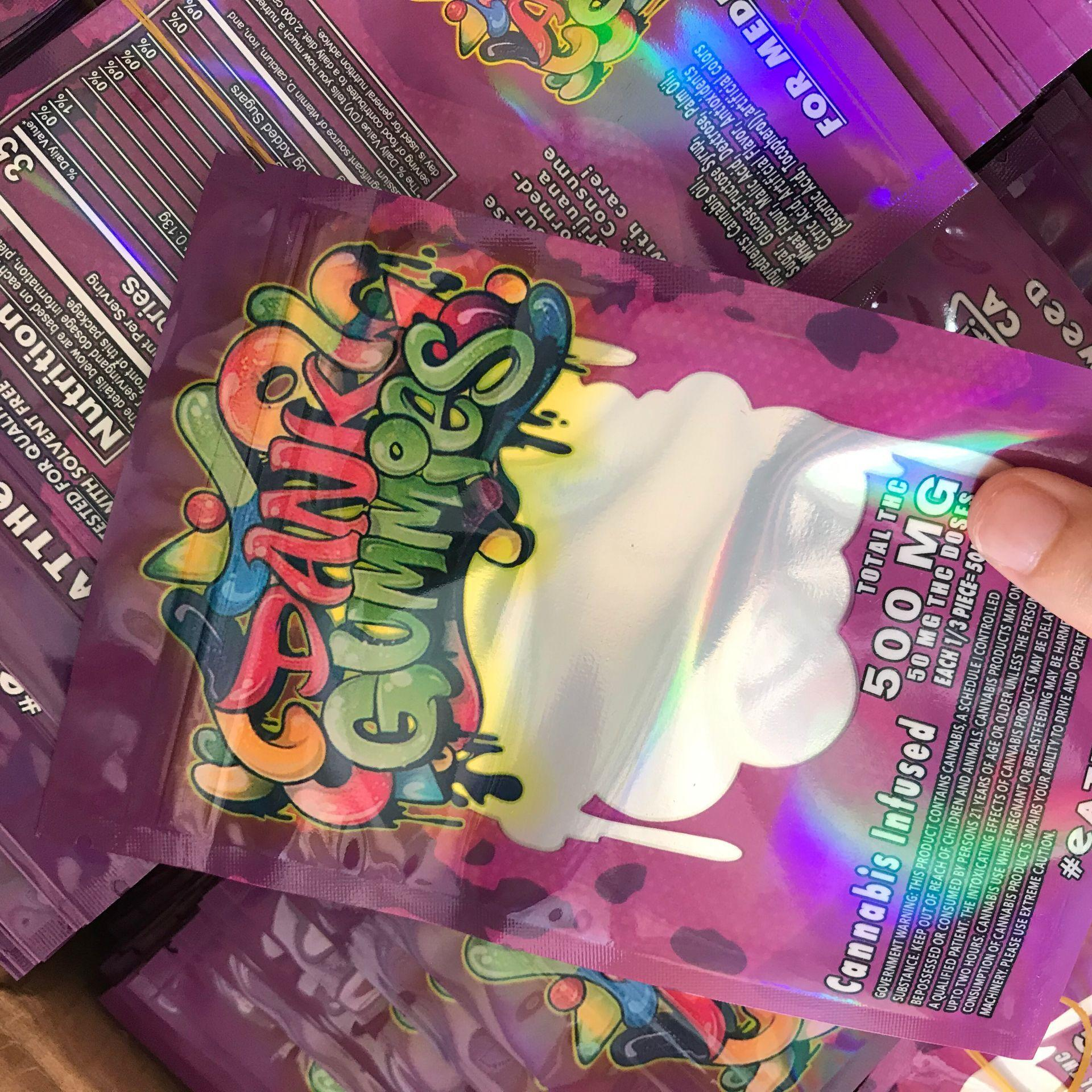 Yeni 8U Hologram Dank Gummies Çanta 500 mg 500 mg Dank Gummies Gummy Mylar Çanta Yerler Ambalaj Sakızlı Çanta