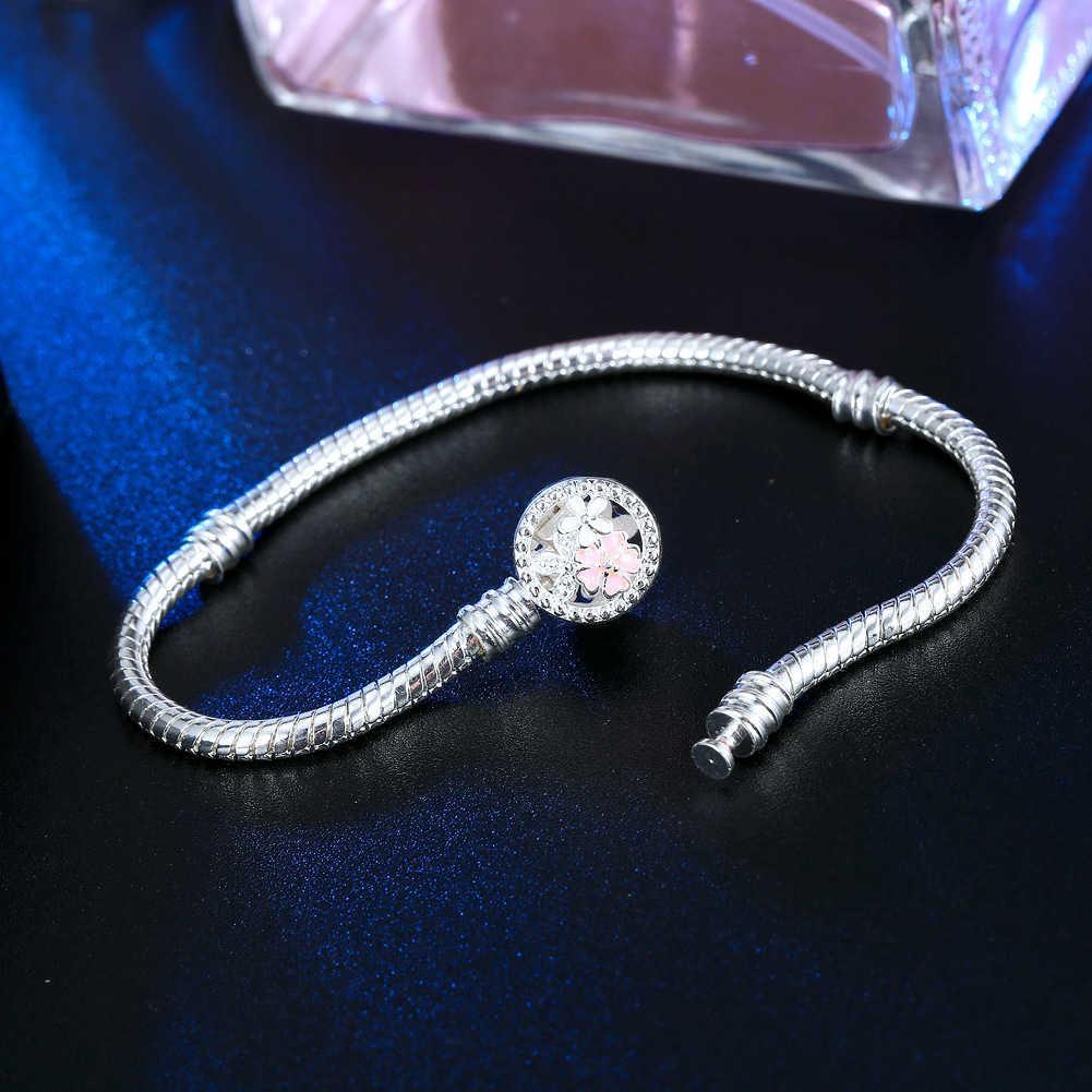 Yılan Çiçek Bilezikler Gümüş Zincir Kaplama Fit 1 ADET Charm Boncuk Pandora Bileklik Bileklik Kadınlar Kız Hediyeler için BR010