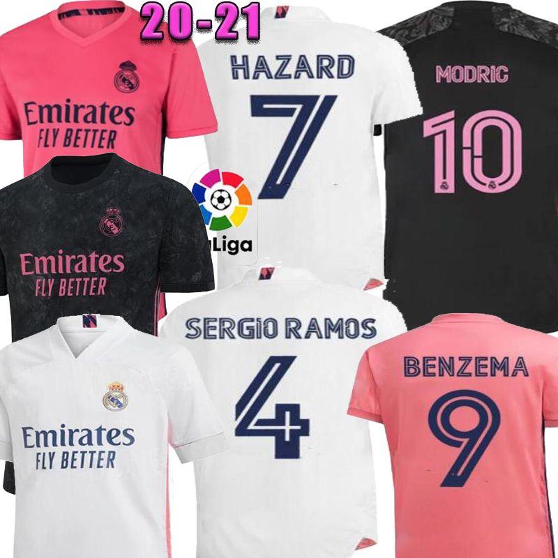 2021 실제 마드리드 위험 모드 팬 홈 핑크 블랙 골키퍼 Ramos 남자 축구 유니폼 Camiseta de Fútbol 축구 셔츠 20 21