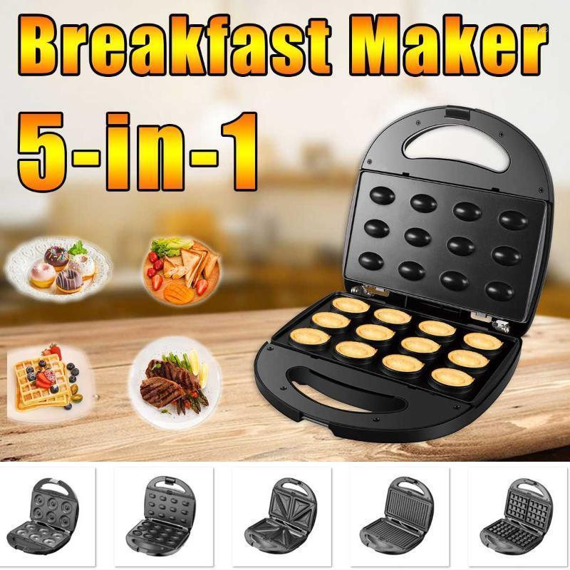 Bread Makers 5-in-1 Electric Waffle Machine Maker Multifunctional Sandwich Home Muffin Cake Donut Bubble Breakfast Baker1