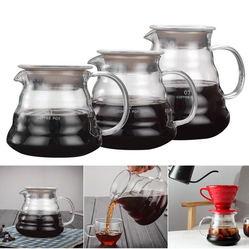 360ml 600ml 800ml V60 полить стекло Диапазон кофе Сервер кофе чайник Brewer Бариста Percolator Графин Капельное Кофейник # 2