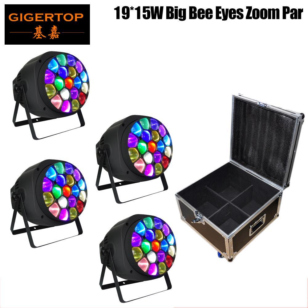 China Road Caso 4IN1 de embalaje de lavado viga de punto multifuncional populares 4en1 Rgbw abeja grande ojo del LED luz de la igualdad del precio barato de energía de entrada / salida