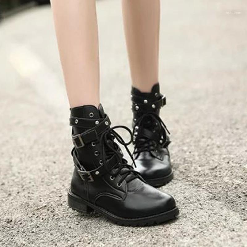 Frauen kurze Stiefel Herbst Punk-Stil PU-Leder Lace Up Gürtel Runde Zehe Stiefel Damen Schuhe Short1