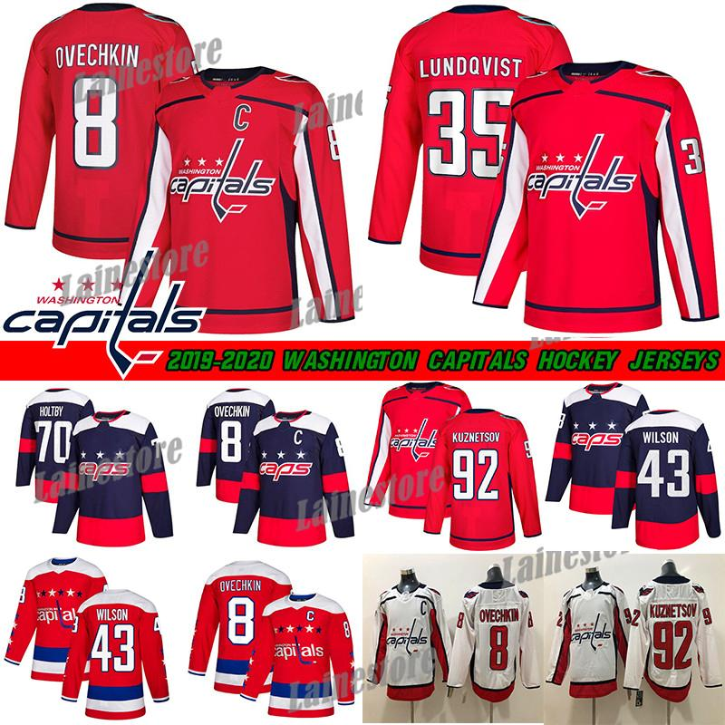 Washington Capitals Jersey 8 Alex Ovechkin 35 Henrik Lundqvist 74 John Carlson 77 TJ Oshie 92 Evgeny Kuznetsov Hockey-Trikots