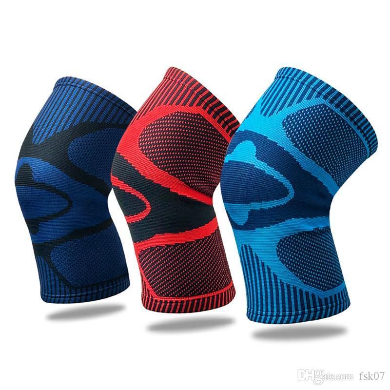 Gym Fitness Ferramenta 1pcs Homens joelheira manga elástica respirável Leg Protector Sports Para Basketball Futebol que funciona joelheira