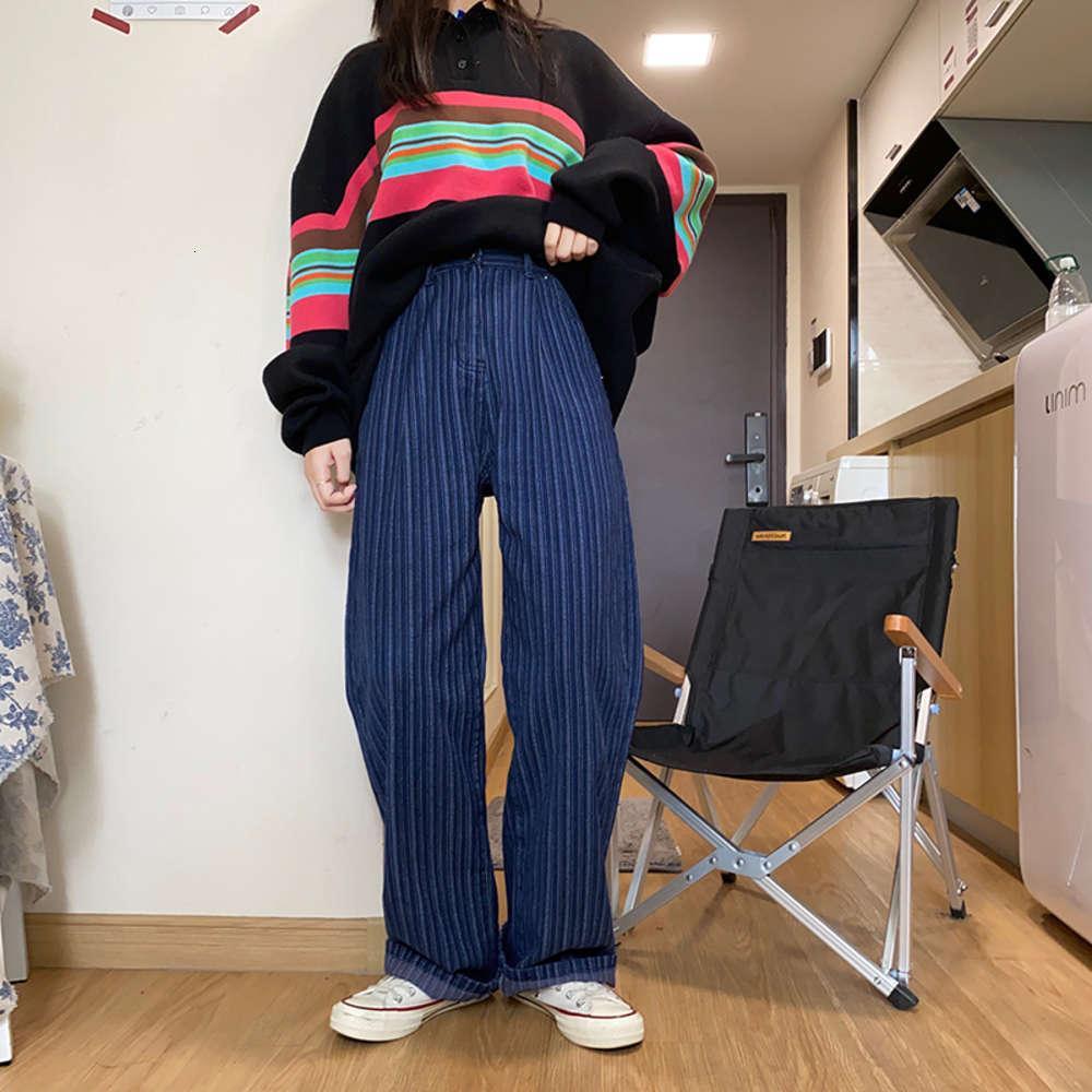 Huatian Fenster Vertikale Streifen Jeans Damenkoreanische Version Lose Wide Bein Hohe Taille Gerade Röhrchen Mop Der Boden, um dünne Drape lang zu zeigen