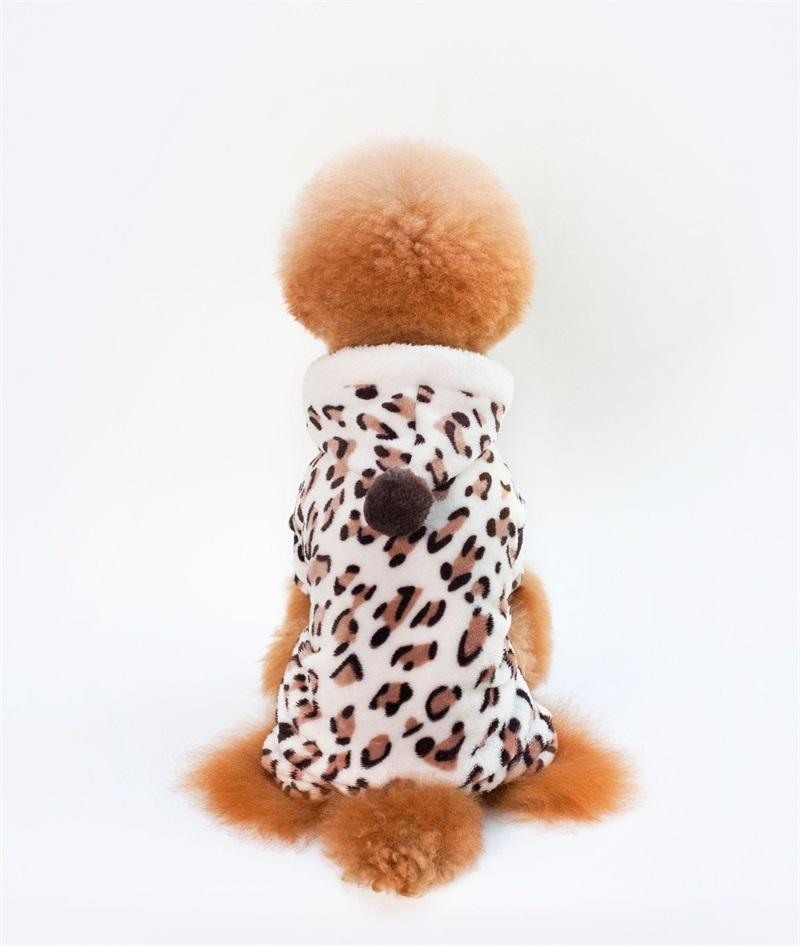 Coral Velvet Perros Jumpsuit Cuatro Piernas Leopardo Imprimir Puppy Ropa Perro Pequeño Perro Ropa para mascotas Otoño Invierno Cálido Nuevo 5kl J2