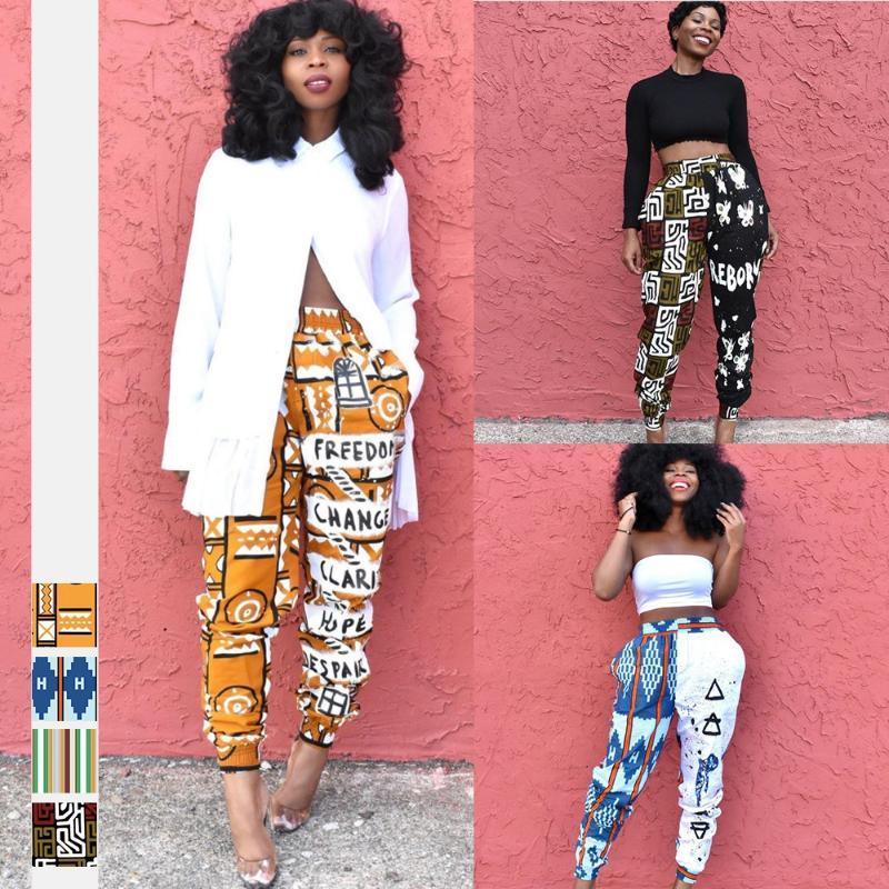 Ropa étnica 2021 Moda Africano Pantalones largos Vestidos para las mujeres Dashiki Imprimir Pantalones de verano Cintura elástica Harem Pantalón Mujer África