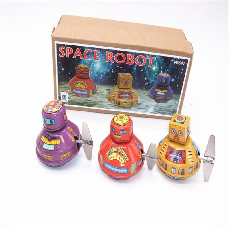 Hot Clockwork brinquedos espaço robô restaurar antigas formas Vintage Mecânica Wind Up metal Walking Robot Tin Adulto coleção Toy caçoa o presente