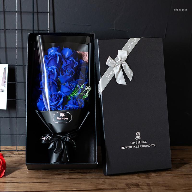 Valentinstag DIY Seifenblume Geschenk Rose Box Bouquet Hochzeit Home Festival Geschenk Künstliche Rose Seife Blume Bouquet F101