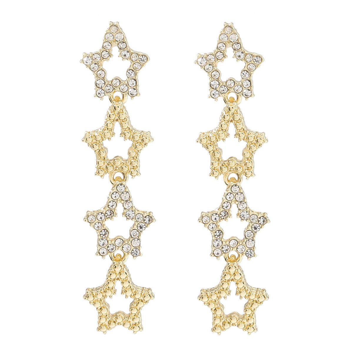 Братья люстра Женщины Золотые Длинные Звезды Серьги Мода Алмазный сплав Простой Стиль Леди Вечеринка Богемский