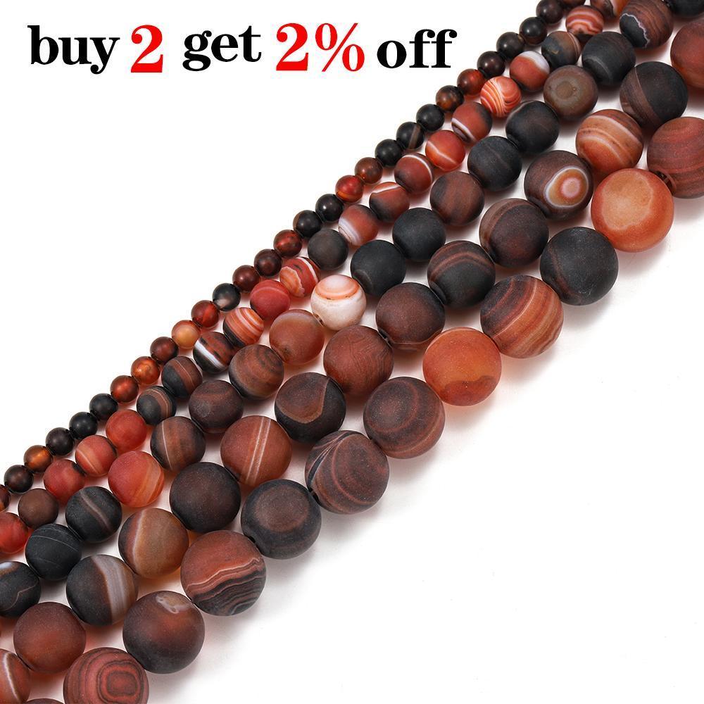 1 Lot 4 6 8 10 12mm CoffeeMatt Stripe Stripe Stripe Round Beads Para DIY Pulseira Jóias Máquinas Suprimentos H Bbytmg