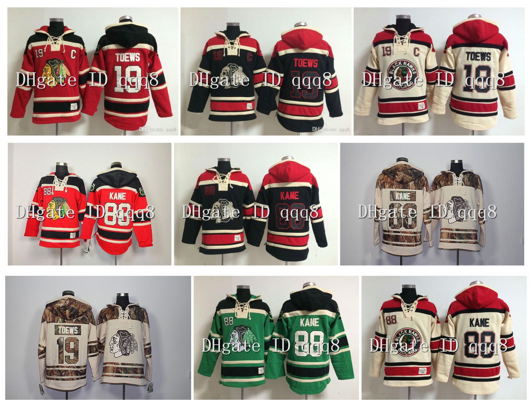 최고 품질 ! 시카고 BlackHawks Old Time Hockey Jerseys 19 Jonathan Toews 88 Patrick Kane Hoodie Pullover Sweatshirts Winter Jacket