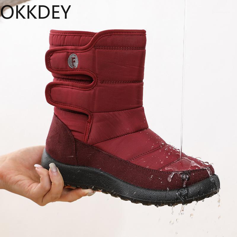 Botas Okkdey 2021 Winter Senhoras e Mãe Sapatos de Algodão À Prova D 'Água Grosso Plush Plus Size Neve Non-Slip Mid-Tube Boots1