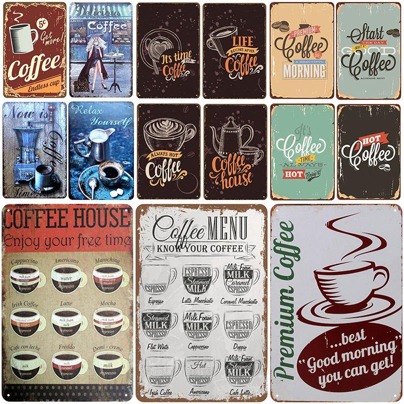 2021 Plaque de café drôle rétro métal vintage panneau d'étain Pin up maison décoration salon vintage bar décoration affiche métal affiche plaque de pub