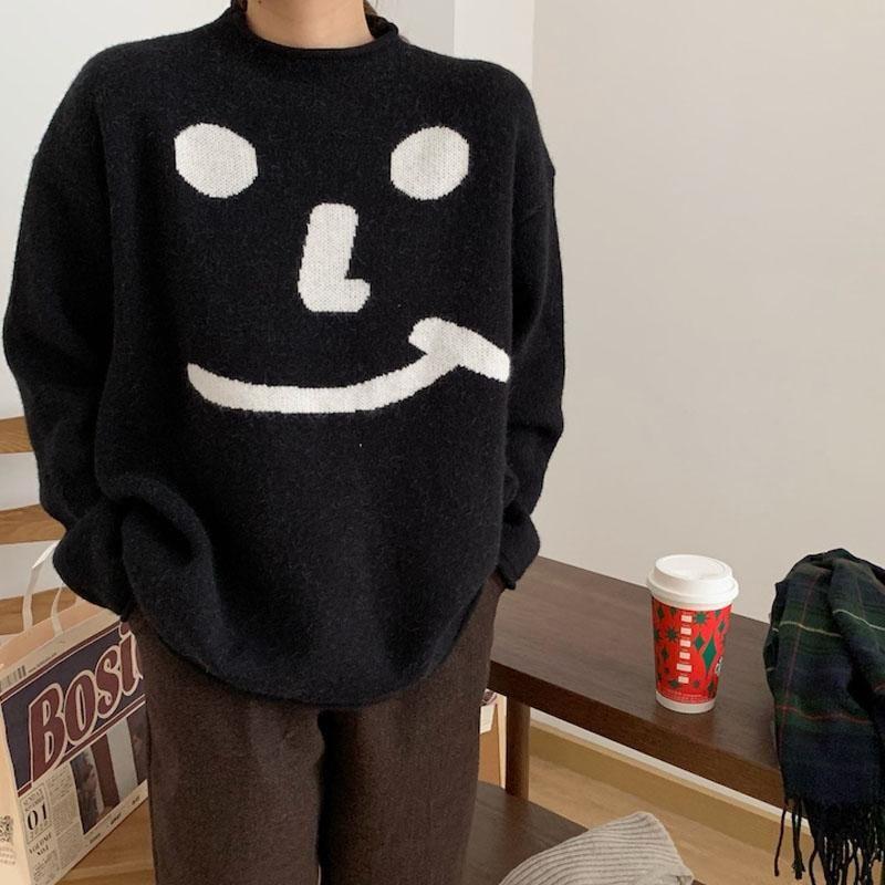 Harajuku Dessin animé Sourire Femmes Sweaters Vintage Col O-Cou Longue Manches Femme Pulls 2021 Automne Nouveau Chic Streetwear Suter Mujer