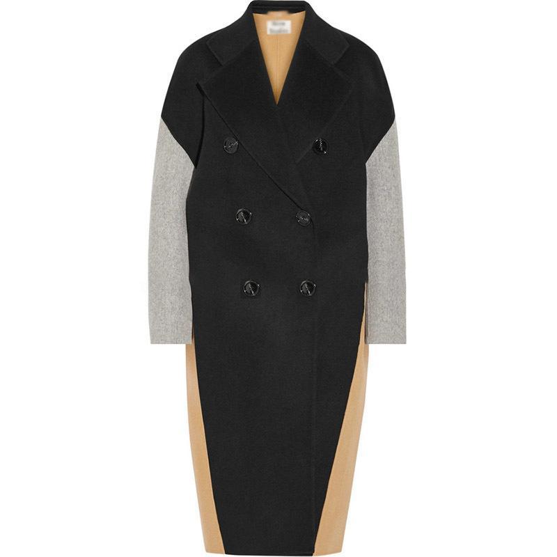 Lanmrem sonbahar sonbahar moda yeni kadın artı büyük blok renk eşleştirme yaka kruvaze kaşmir ceket TC818 201103
