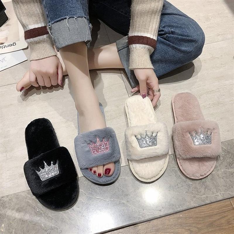 nIwdV zapatillas de lana caliente de las mujeres slippersSlippersautumn y la corona inferior de invierno nueva línea de zapatillas de algodón uno interior y exterior plana térmica