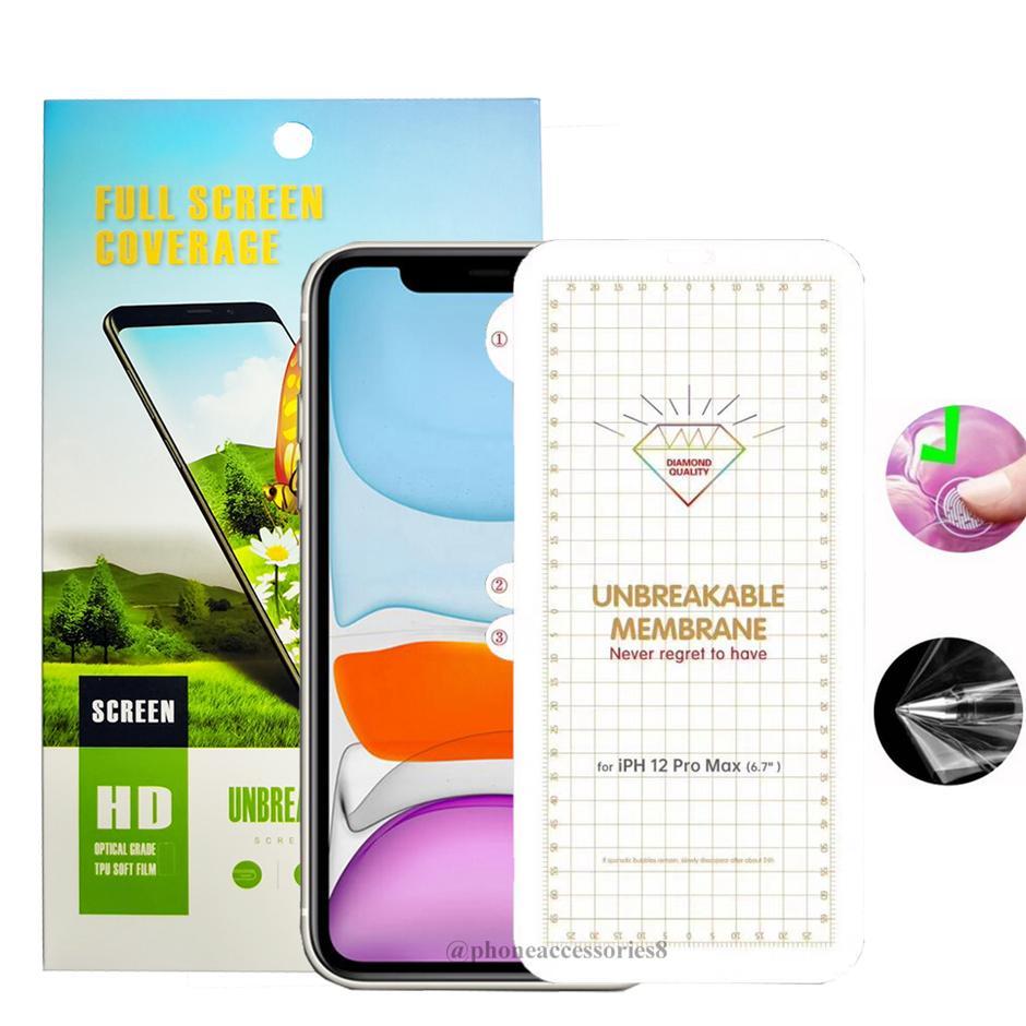 غير قابل للكسر HD واضح TPU شاشة الهاتف حامي اي فون 12 mini11 برو ماكس هواوي ماتي 40 برو P40 LG الجناح 5G المخملية Samsung S20 Fe Plus