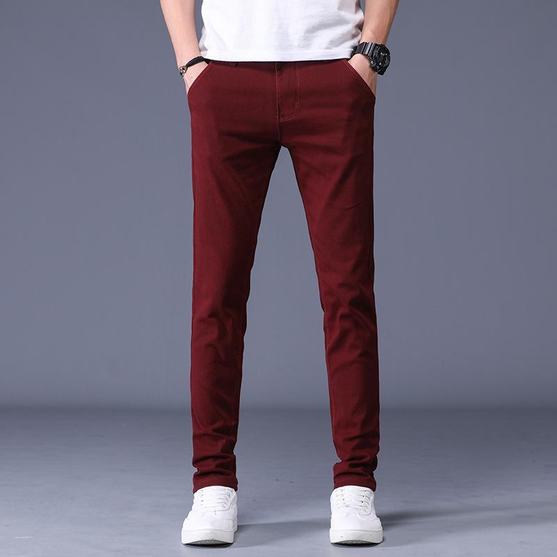 6 couleurs hommes 98% coton Pantalons simple d'affaires 2020 Nouvelle taille élastique Slim PANTALON Homme Marque Vêtements Longueur Plein
