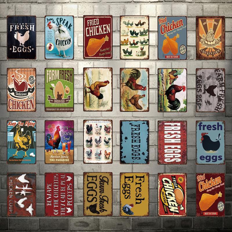 2021 Funny Friend POLLO BEST IN CITTÀ Agriturismo Uova fresche Segno di metallo Poster di latta Poster all'aperto Home Decor Bar Wall Art Pittura in metallo 20 * 30 cm