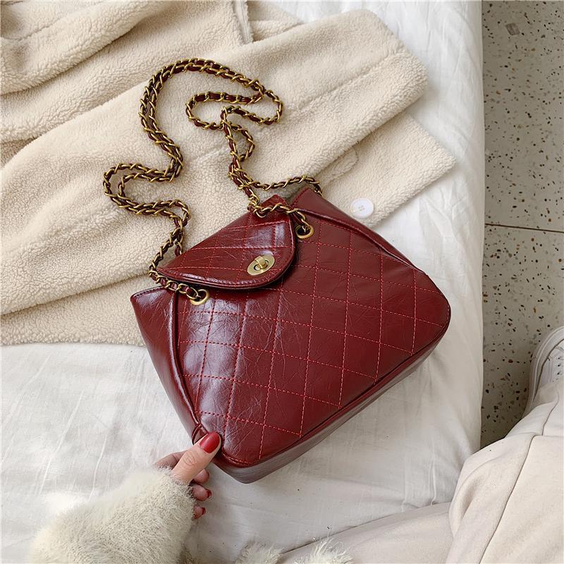 Cor Sólida PU Messenger Quilted Handbags 2020 Ombro Moda Mulheres Cadeia Crossbody para sacos Saco Senhora Viagem Couro JWRXR