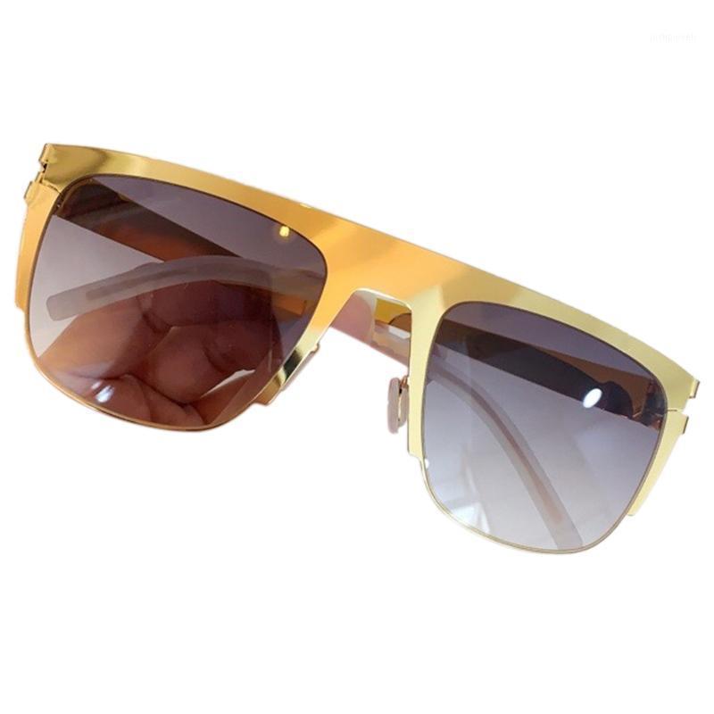 Солнцезащитные очки Мода Металл Половина Рама Бренд Дизайн Прямоугольник Женщины Классические Мужчины Очки Очки с оригинальной коробкой UV4001