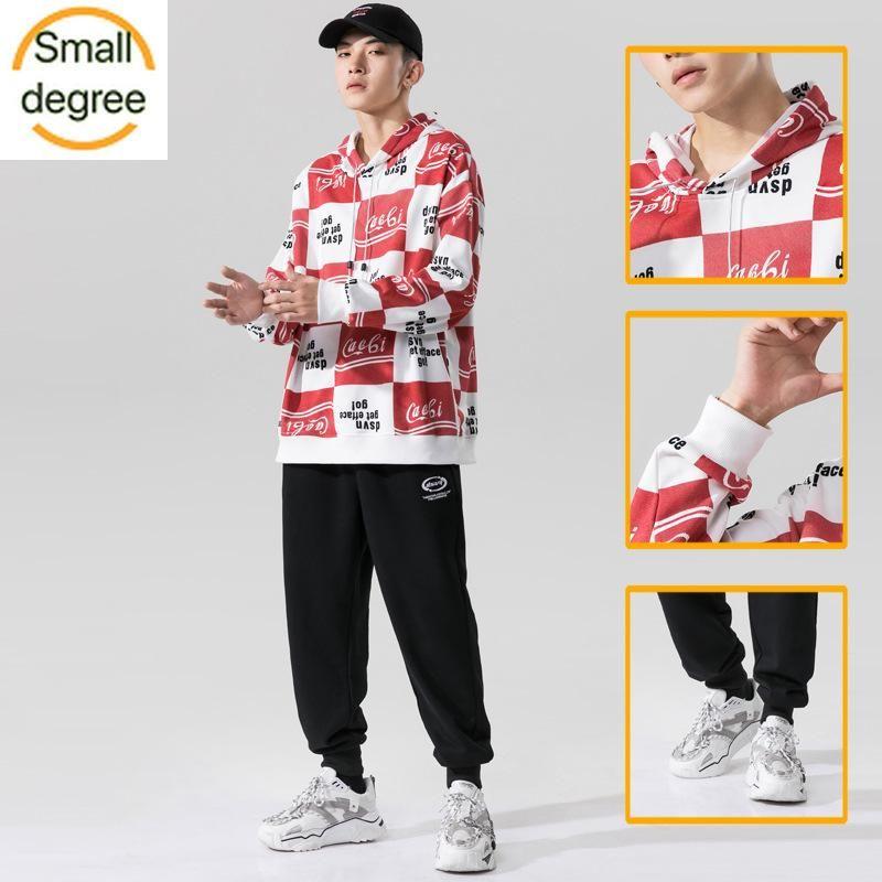 2020 outono e inverno nova tendência camisola com capuz terno bonito carta correspondência de cores dos homens a impressão ocasional solta de duas peças