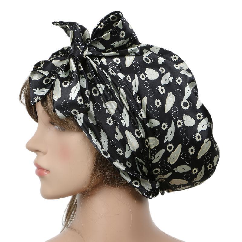 1 PC 100% las mujeres de seda de seda suave Dormir Cap Cap noche dormir del sueño del sombrero del capo Borgoña ropa de noche con el lazo ajustable