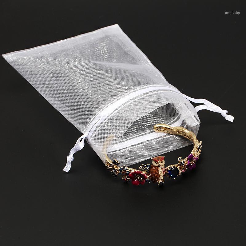 50 teile / los 10 * 15 cm Große Organza Taschen Boutique Weiße Schmuck Verpackung Taschen Hochzeit Party Favor Kordelzug Geschenktüte 19 Farben 5z1