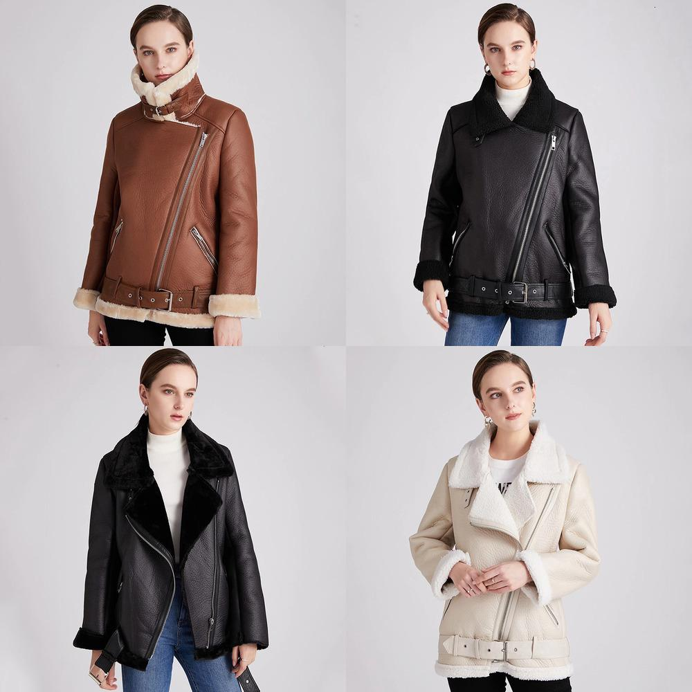 Женщины Ailegogo Новые зимние шерсти ягнят ветровки меховой воротник на молнии куртка Теплый Толстые Верхняя одежда Искусственная кожа ягненка пальто Мото Outwear SWLL