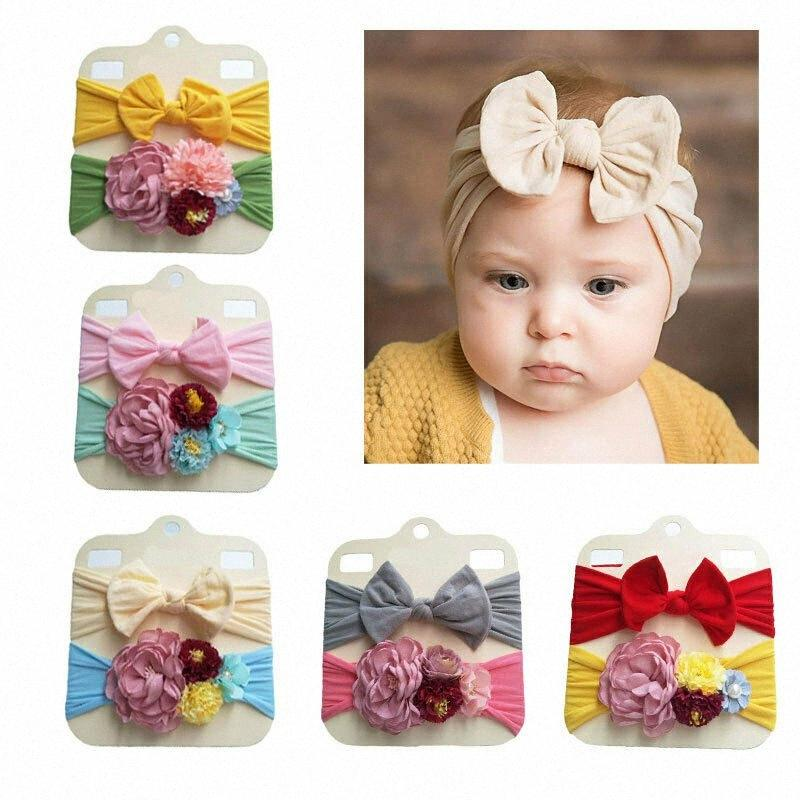 Floral Bows bebê Headband bowknot Haarband Baby Girl Headbands algodão crianças cabelo faixa de Meninas Acessórios de cabelo bonito Acessórios de cabelo Caum #