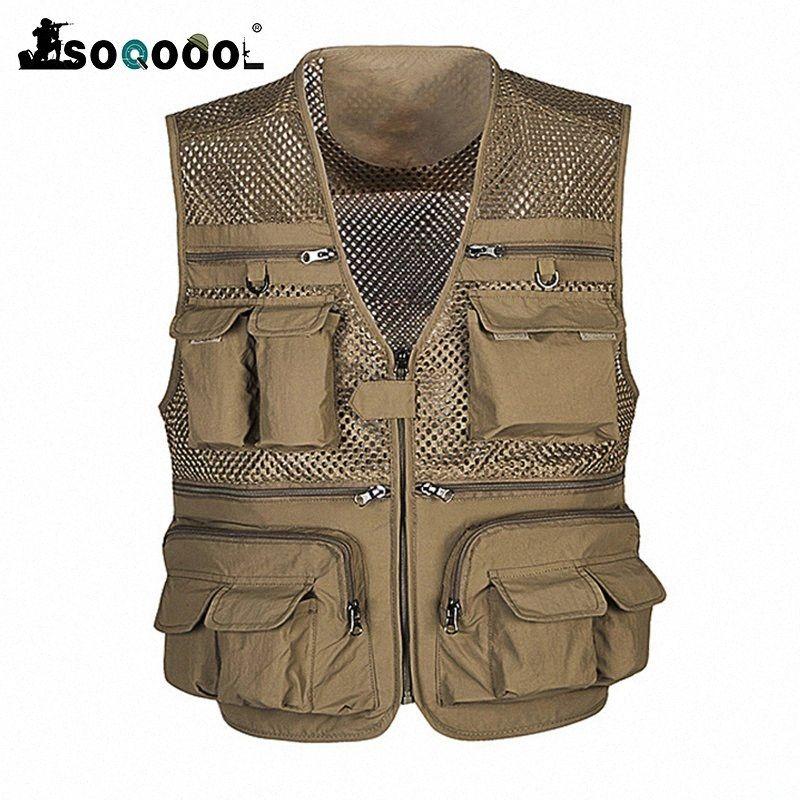 Soqoool Tactical Vest Armee Weste Viele Taschen-Safari Reise Westen im Freienjagd-Mesh-kampierende Westen B5Mj #