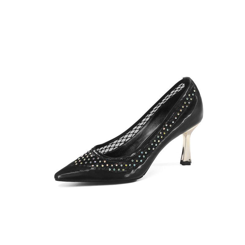 Office Women's New Pumps Pointed Toe Thin Heels High Solid Mature Fashion Shoes Ghenuine Leather Pumps