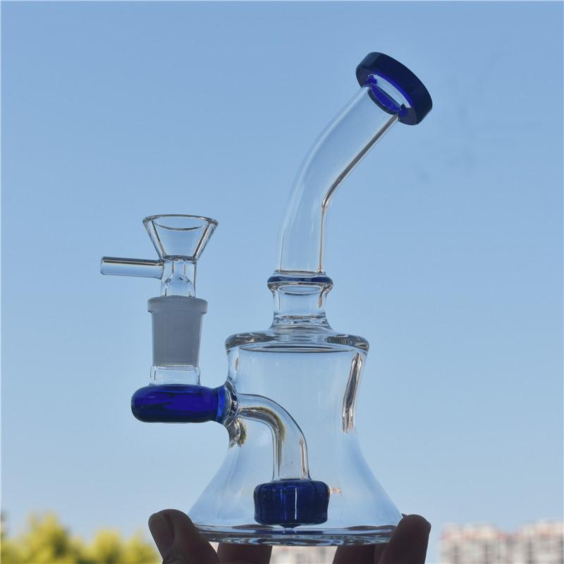 couleur Dab bêcher en verre de forage bong conduite d'eau de recyclage de verre thick14mm joint bong avec tube de brûleur à huile en verre de 14mm