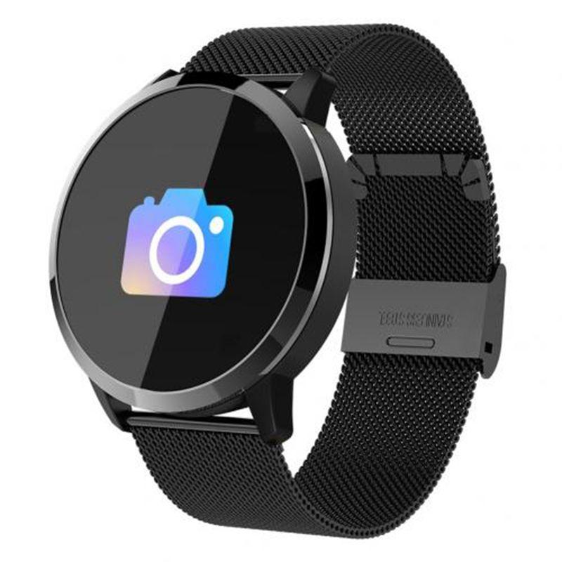 Q8 Moda Mulheres Smart Watch OLED Screen Cor SmartWatch Fitness Rastreador Relógio Coração Pressão arterial Bluetooth