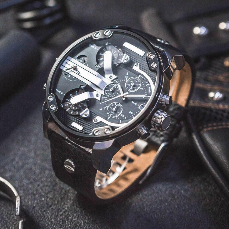 Nuovi orologi da uomo Quarzo Casual Sports Guarda grande quadrante Data cinturino in pelle Uomo Militare Orologio da polso Montre de Luxe