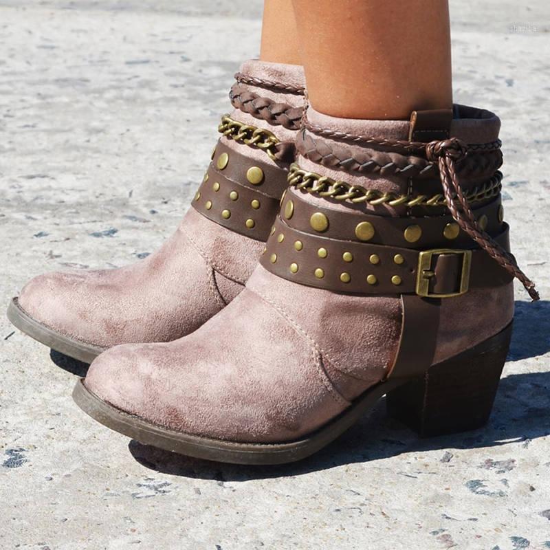 Frauen Knöchelstiefel High Heels Pumps Vintage PU-Leder Winter Herbst Warm Matin Schuhe Plus Größenschuhe Frau Mujer Zapatos D21301