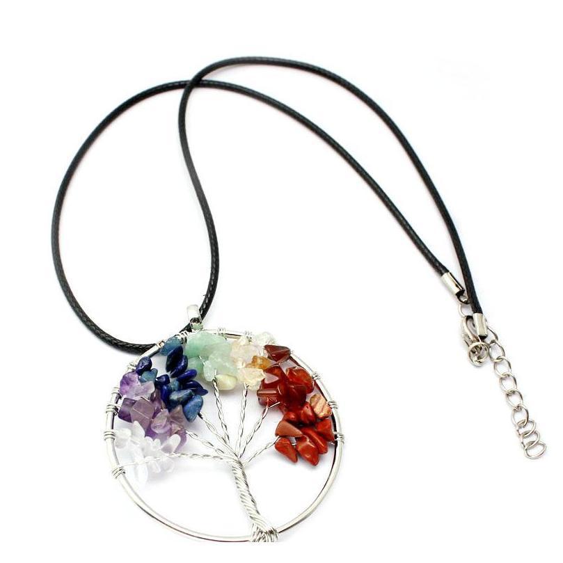 Дерево жизни кварцевые кулон ожерелье радуга 7 чакра многоцветные натуральные каменные мудрости кожаные CH SQCBUB DH_SELLER2010