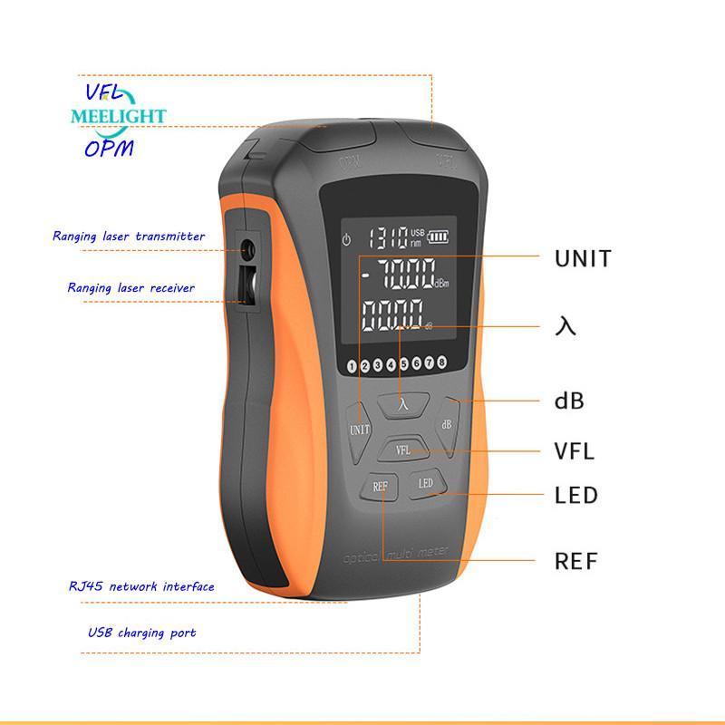 2020 New potência óptica medidor laser vermelho 6 em 1 High Precision Mini Pen Fiber Red 15 km de fibra recarregável Luz Tester Luz 650mw