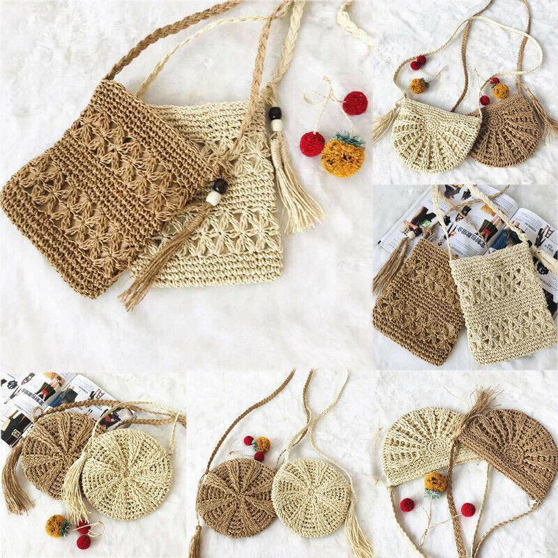 Сумки для хранения Соломенная сумка Летний пляж Праздник Ротанг плечо плечевые плетение сумочка для ручной работы