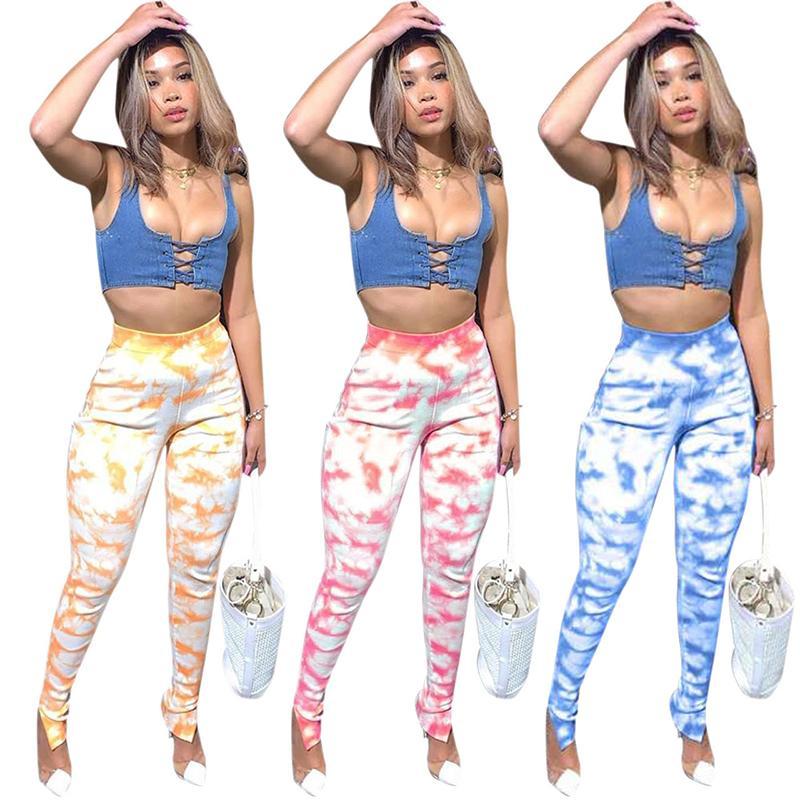 Pantaloni da donna Pantaloni a matita skinny a vita elastica Tie-tinte stampate joggers casual pantaloni pantaloni casual moda stile moda